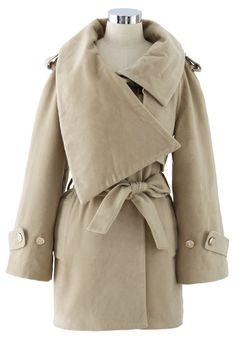 Beige Hooded Coat with Belt