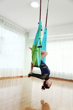 Gpeng Aerial Flying Yoga Hammock Set  Yoga Swing / Inversion / Sling Hammock with 2 Daisy Chain Adjustable Straps   All Installation Hardward   Installation Guide GreenBlue * To view further for this item, visit the image link. (This is an affiliate link)