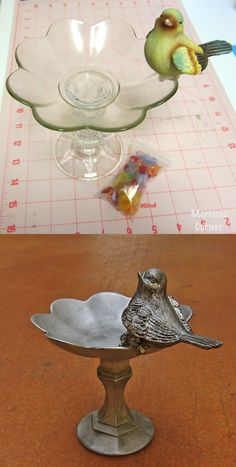 DIY spray painted plastic pieces to create this cute Birdfeeder! Recycle/Upcycle/Repurpose