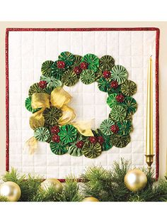 Quilting - Holiday & Seasonal Patterns - Christmas Patterns - Yo-Yo Wreath Door Hanging