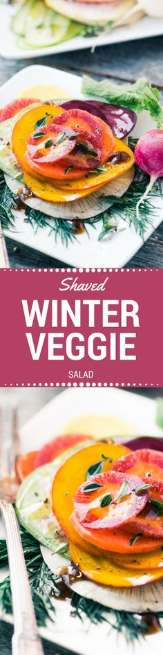 Shaved Winter Vegetable Salad ~ have you ever seen a prettier salad?  Paper thin rounds of winter root veggies are stacked and then lightly dressed with olive oil and a balsamic glaze.  This is the ultimate winter salad!