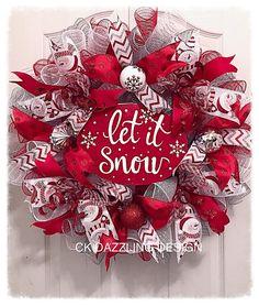 Let it snow deco mesh wreath/Christmas wreath/snowman wreath/holiday wreath/Red Christmas wreath Christmas Wreaths To Make, Holiday Wreaths, How To Make Wreaths, Christmas Crafts, Holiday Decorations, Winter Wreaths, Red Christmas, Spring Wreaths, Summer Wreath
