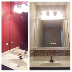 Bathroom Make Over Under 100 Add Trim Around Existing Mirror With Liquid Nails