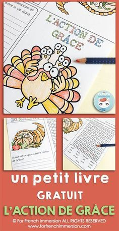 FREE French Thanksgiving Foldable Minibook of Activtities - writing prompts and word search. Pour l'Action de Grâce (en français)