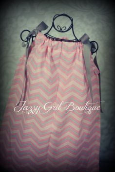Girls Pillowcase Dress Pink and Silver Grey by JazzyGirlBoutique, $18.75