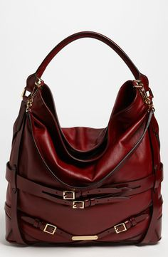 b4045cc0a8c1 Burberry Leather Hobo in Brown (red claret) Burberry Tote