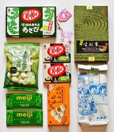 Japanese goodies from my friend, Chelli. Yipee!!! :-)  (L to R) Kitkat wasabi, Hello Kitty key chain, Omochi, matcha marshmallows, Kitkat matcha, green tea, meiji matcha chocolate and bourbon mochi.