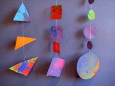 exploring shapes: great maths and art idea--Cut various geometric shapes out and leave them in the art center for painting. As the children become familiar with the shapes, they can cut out their own shapes for painting/ drawing.