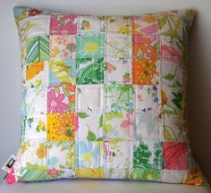 Pretty!  patchwork vintage sheet pillow cover - by clairesmama, via Flickr