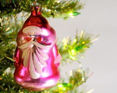 Vintage PINK mercury glass Santa.