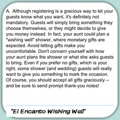 Wishing Well Shower - a great alternative to gifts since the invitation states it is a monetary gift shower (great idea to use funds for a honeymoon or spa getaway for the bride & groom)