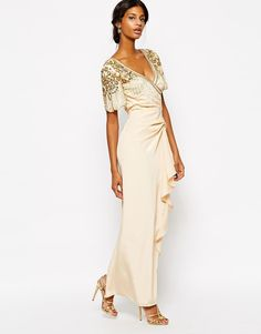 Jarlo kelly maxi dress with cap sleeve and lace insert blouse
