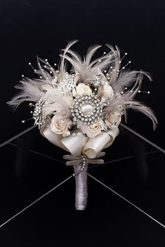 Winter Wonderland Vintage Bridal Bouquet  www.tablescapesbydesign.com https://www.facebook.com/pages/Tablescapes-By-Design/129811416695