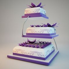 Square purple and white layers wedding cake by Sandy Madison Purple Cakes, Purple Wedding Cakes, Wedding Cakes With Cupcakes, Square Wedding Cakes, Wedding Cake Stands, Christmas Tops, Purple Christmas, Love Cake Topper, Cake Toppers