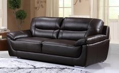 Bryce Genuine Leather Sofa only $1199 including tax & free local delivery! #sofa #genuineleather #palluccifurniture