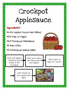 """Making applesauce offers lot of learning opportunities and fun. Discussion of apples and trees, fine motor skills to cut and peel, math skills needed for measuring, science (raw to soft) when heat is applied,nutrition, team and individual work and more! Plus, yummy!  You can also add cherries or other fruit to """"perk it up"""".  Teach it With Class: Apples"""