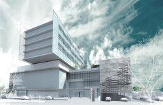 St. James Medical Center < HDR, Inc. Render Image, Hospital Design, Healthcare Design, Facade Design, Type Setting, Medical Center, Amazing Architecture, Skyscraper, Multi Story Building
