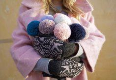 Kutova Kika Knitwear fuzzy pompom knitted beanies in pretty pastels