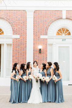 Elegant gray blue bridesmaid dresses: http://www.stylemepretty.com/little-black-book-blog/2016/03/18/whimsical-summer-wedding-at-the-estate-on-second/ | Photography: Koman Photography - http://komanphotography.com/
