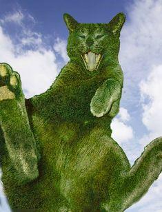 Art-Monie The Topiary Cat by, Richard Saunders. Garden Whimsy, Cat Garden, Dream Garden, Garden Art, Richard Saunders, Animals And Pets, Cute Animals, Topiary Garden, Cat Art