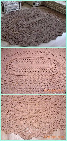 Crochet Ideas Crochet May the Miracle Oval Rug Free Pattern - Crochet Area Rug Ideas Free Patterns - 10 DIY Crochet Area Rug Ideas with Free Patterns: for dinning room, living room, bedroom or even as kitchen mat, a great addition to interior decor, Picot Crochet, Crochet Doilies, Crochet Stitches, Free Crochet, Crochet Granny, Crochet Baby, Crochet Carpet, Crochet Home, Crochet Crafts