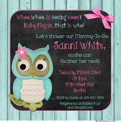 These girl owl baby shower invitations use a chalkboard backdrop to make your baby girl's bright colors pop!