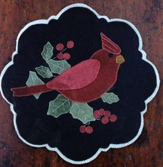 Winter Cardinal - Wool Applique Mat