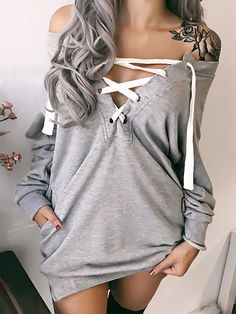 Trendy Lace-up Casual Sweatshirt
