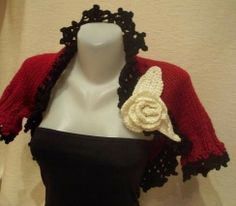 Knitted REDBLACKIVORY shrugChristmas caming soon by selecta6, $54.00