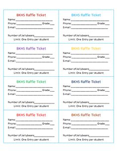 Cash Raffle Ticket Template For Youth Club  Fundraisers