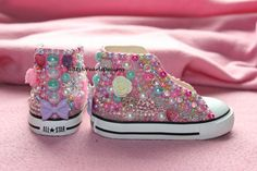 For Sale: Toddler Size 5 OOAK Converse High Top Chuck Taylors by GlitzNPearlsDesigns, $125.00   These are super cute Chucks I made and are ready to ship! They are decorated with pearls, Swarovski AB Crystals, cabochons, decoden, roses, hearts, rhinestones, and more. Click the link to purchase and for more info!  Not the size you want?! I will make ones similar custom ones for you in the size and color you need- message me!