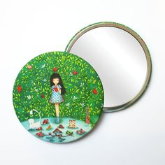 Round Pocket Makeup Mirror - What To Choose Free Black, Black Mirror, French Artists, Small Gifts, Velvet, Pocket, Christmas Ornaments, Holiday Decor, Makeup