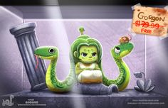 Daily Painting Monster Shop - Gorgon by Cryptid-Creations on DeviantArt Cute Animal Drawings, Kawaii Drawings, Cute Drawings, Cute Fantasy Creatures, Cute Creatures, Mythological Creatures, Mythical Creatures, Chesire Cat, Animal Puns