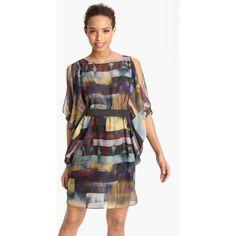 Print Chiffon Blouson Dress ($99) ❤ liked on Polyvore