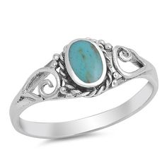 Turquoise Oval Stone Sterling Silver Ring Turquoise stones are a popular choice for all types of jewelry and this oval Turquoise stone ring will become one of