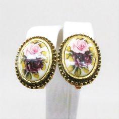 Enamel Earrings - Vintage, Gold Tone, Floral, Enamel Clip-on Earrings by MyDellaWear on Etsy $18