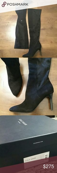 Hot COLE HAAN 'Emilee' Over the Knee boot 7.5 Brand new with box never worn and totally gorgeous! Softest black suede over the knee boots. Interior zipper for easy pull on. Love these but have never worn them and I'm afraid I never will; they're too fab (and $$) to go to waste in my closet. MSRP $500 Cole Haan Shoes Over the Knee Boots