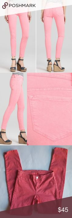 """J Brand Neon Skinny Jeans in Pink Tap into the season with these pop-bright skinny jeans. Cotton/lycra, zip fly closure with button, faux front pockets and two back pockets, tonal stitching, silver hardware. 13"""" waist,  8"""" rise,  28"""" inseam.  In excellent condition. J Brand Jeans Skinny"""