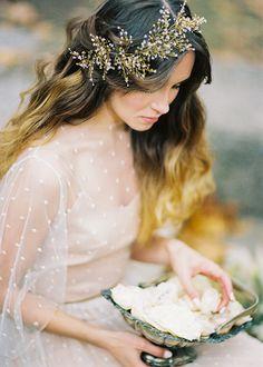 Gold Spray Bridal Headpiece | Antonova Kseniya Photography on @burnettsboards