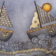 Six Sailboats Sail Away Handmade Coastal by beachsidestyle on Etsy