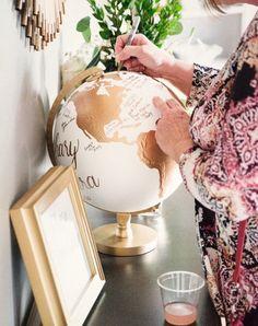 Custom Wedding Globe – Perfect for Wedding Guestbook or Centerpiece – Hand Painted – Diameter – Travel, Boho Chic, Guestbook Alternative - Dekoration Silver Leaf Painting, Dream Wedding, Wedding Day, Boho Wedding, Wedding Blog, Perfect Wedding, Bridal Shower, Baby Shower, Guest Book Alternatives