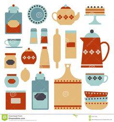 Vintage Kitchen Utensils Illustration kitchen utensils , kitchenware for cooking or preparing foods and