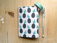 pocket notebook jotter with pineapple print by mipluseddesign