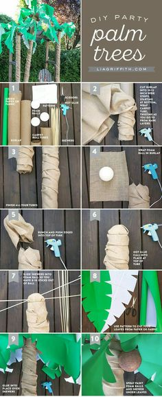 Use the brown paper we have saved and buy roll of green wrapping paper for leaves. Maybe wrap brown paper around pool noodle or stand of umbrella and then attach green paper cut as leaves on top
