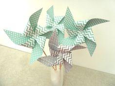 8 Pics moulins à vent à pois et chevron vert menthe et gris - décoration de table de fête, candy bar, anniversaire,