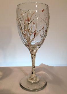 Aspen Tree Wine Glasses Hand Painted Set of 4.