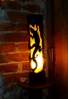Husband gift Wooden table lamp Gecko wooden lizard by bamboobg