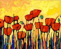 Poppies on Yellow Painting at ArtistRising.com --Patty Baker