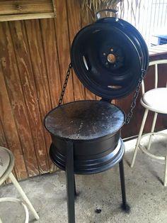 Rim Fire Pit, Cool Fire Pits, Metal Fire Pit, Fire Pit Heater, Diy Wood Stove, Barrel Bbq, Brick Bbq, Diy Grill, Grill Design