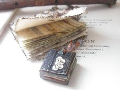 Book Necklace - Tiny Book Pendant - Custom Initials - Book Nerd - First Anniversary Gift